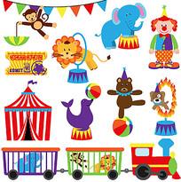 马戏团动物卡通素材