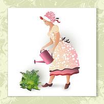 矢量园丁浇花插画