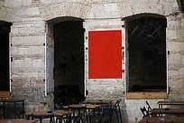 怀旧茶馆饭店室外平面广告海报贴图样机