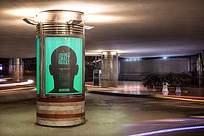 室内装饰石柱灯箱人像广告标识牌贴图样机