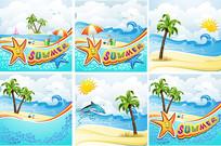 卡通海滩素材