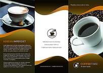 简约时尚咖啡店宣传三折页贴图模板