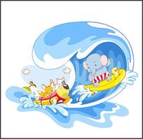 动物戏水矢量素材