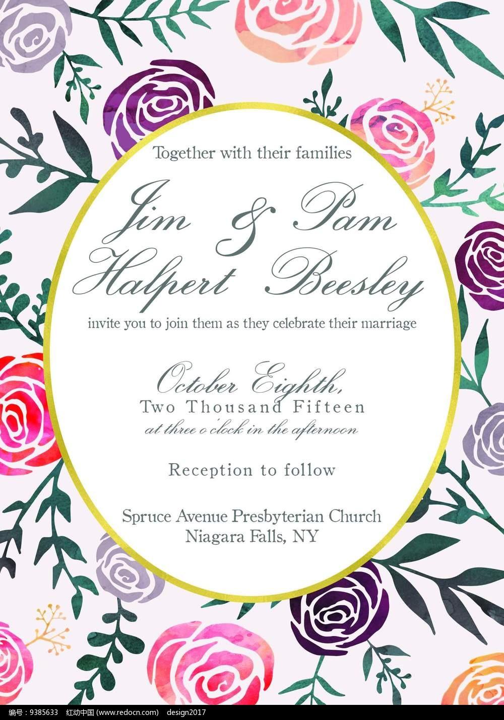 浪漫玫瑰创意婚礼喜宴请柬请帖邀请函贴图模板图片