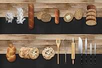 美味西点烘焙木板上的面包厨具食材烘焙素材排列组图