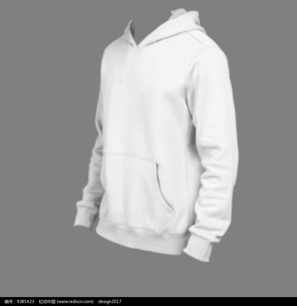 浅灰色卫衣模特贴图模板psd图片