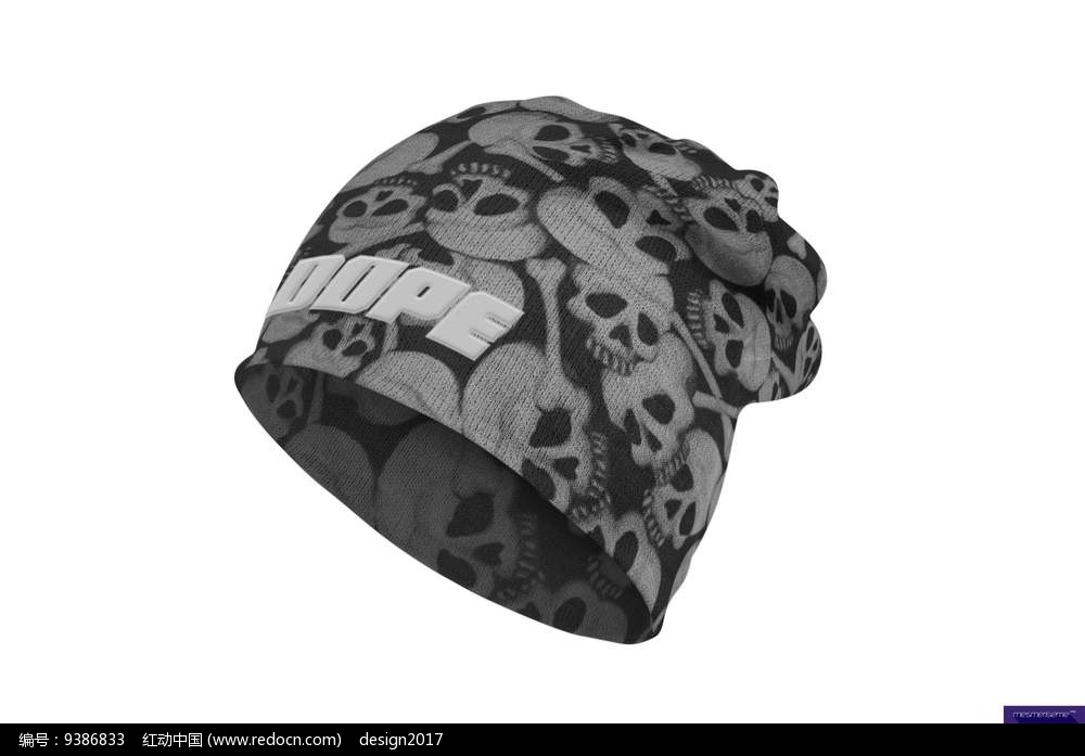 时尚休闲男士骷髅花纹针织帽无边帽贴图模板图片