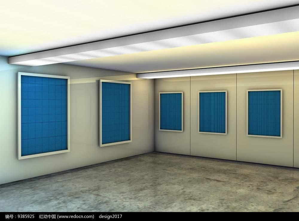 艺术展览馆画廊展示区空白蓝色画框场景贴图模板图片