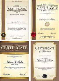 金色证书设计矢量eps