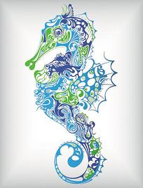 海马花纹图案