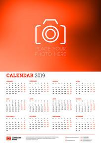 2019年照相机装饰日历