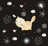 花朵肚子猫