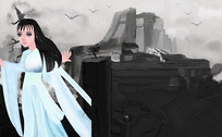 悬崖之颠的美少女插画创意设计