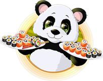 矢量卡通熊猫