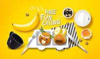 创意甜点面包水果早餐海报