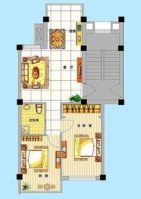 两房一厅平面户型图模板