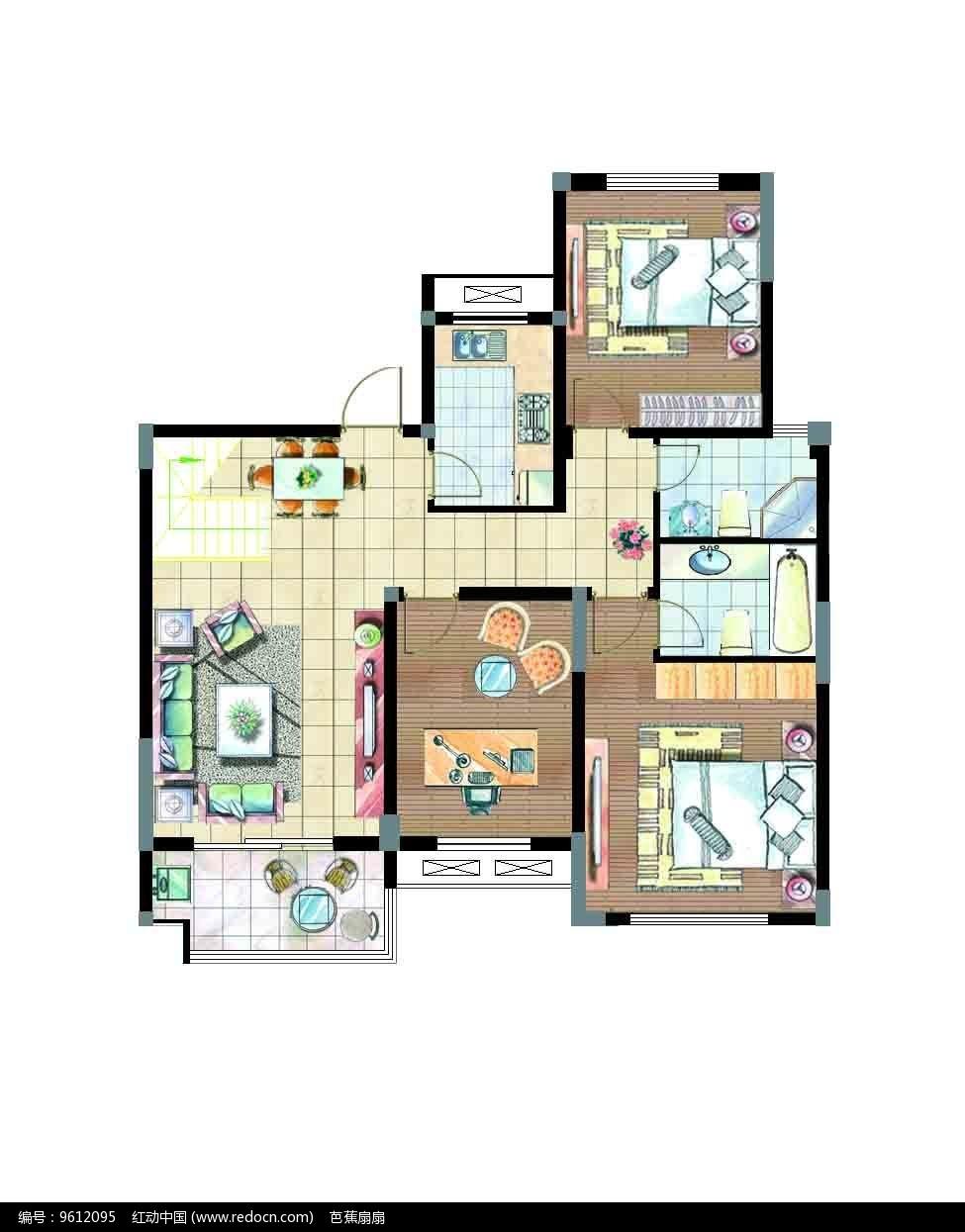 两室一厅平面户型图PSD素材免费下载 红动网