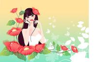 卡通可爱美女花朵