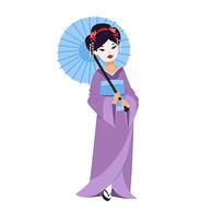 撑着伞的日本美女