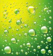 晶莹的绿色水珠水滴