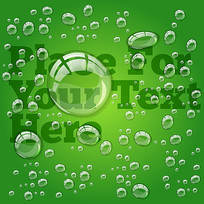 晶莹的绿色水珠水滴背景