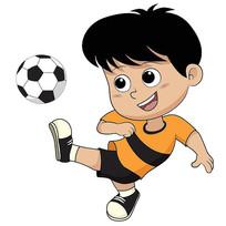 踢足球的小男孩