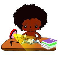 正在写作业的小孩