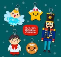 6款圣诞节装饰角色吊牌矢量图
