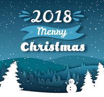蓝白色圣诞雪夜素材
