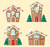 圣诞节建筑木屋姜饼屋矢量图