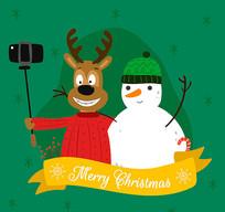 圣诞麋鹿和雪人矢量图
