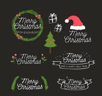 6款圣诞快乐英文艺术字矢量图