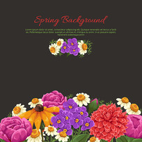 春季彩色花卉背景矢量