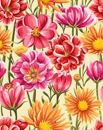 绚烂花卉无缝背景矢量