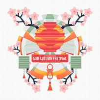 扁平化中秋节图片海报