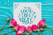 玫瑰鲜花婚礼邀请函