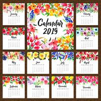 2019年新年日历矢量模板