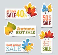 秋季树叶销售标签AI