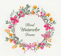 水彩鲜花装饰圆形花环矢量