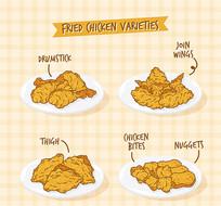 油炸食品炸鸡腿矢量图