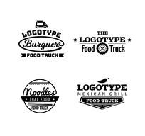 4款黑色款餐车标志矢量