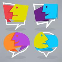 抽象表情文本对话框矢量图
