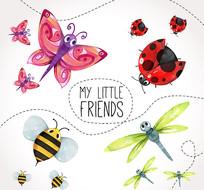 蝴蝶瓢虫昆虫矢量图