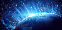蓝色发光地球素材