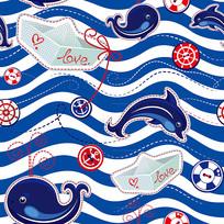 蓝色海洋元素背景矢量素材