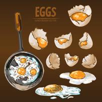 烹饪煎锅煎鸡蛋矢量图