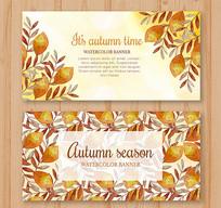 秋季树叶横幅设计矢量素材