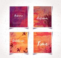 水彩秋季风格海报矢量素材