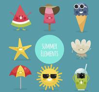 夏季食品饮料表情矢量素材