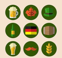 圆形啤酒文化节图标矢量图